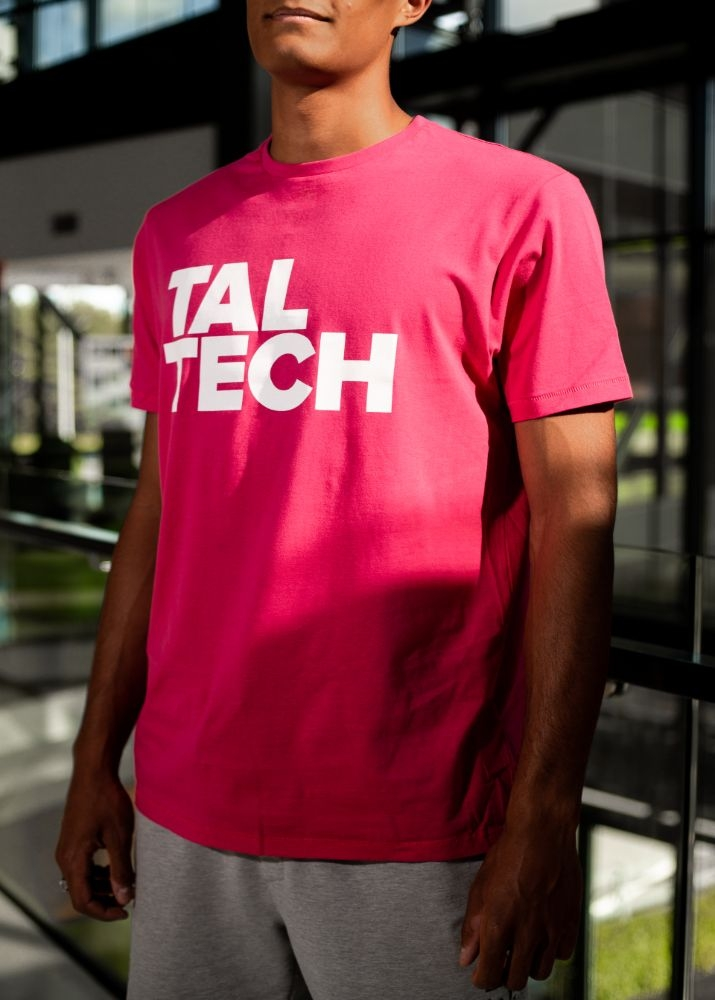 Pink T-shirt with white logo for men