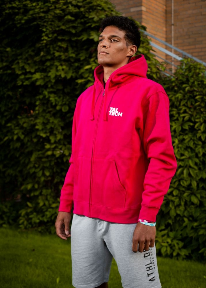 Pink sweater with zipper for men