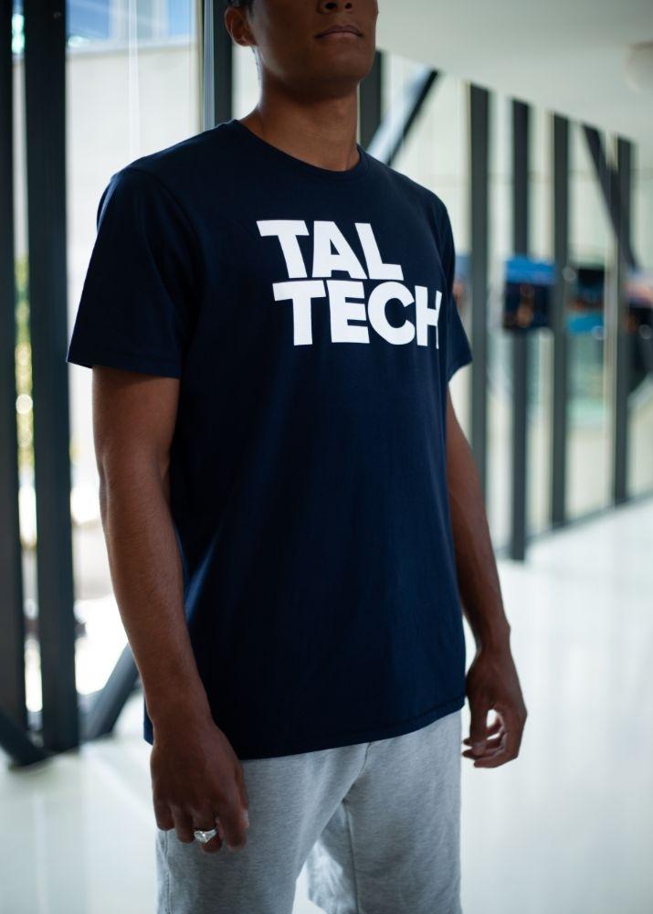 Navy T-shirt with white logo for men