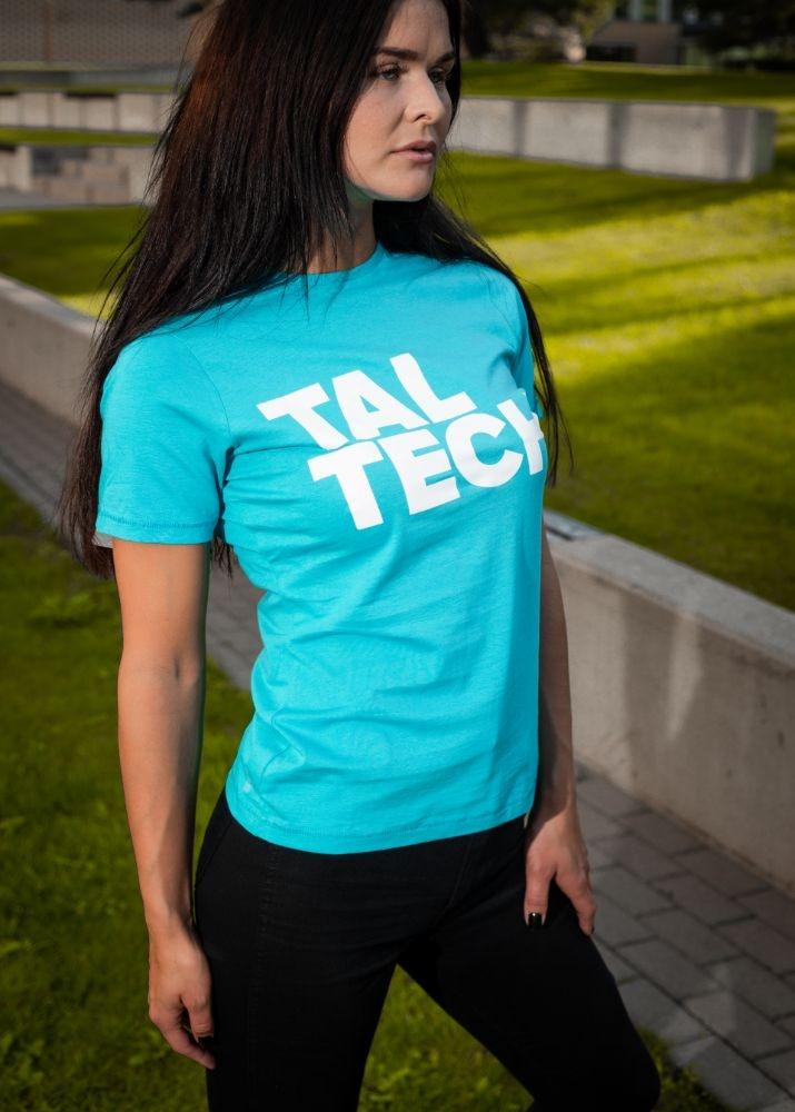 Light blue T-shirt with white logo for women