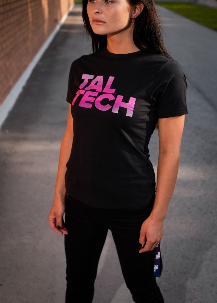 Black T-shirt with gradient logo for women