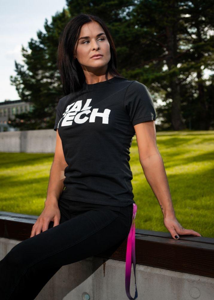 Black T-shirt with white logo for women