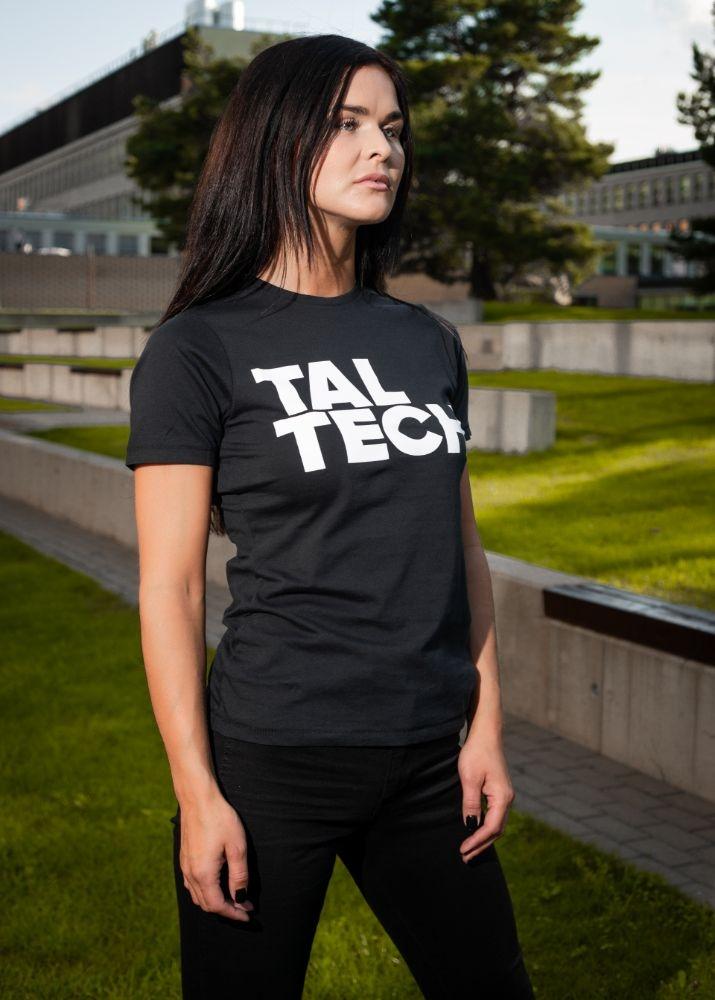 Naiste must T-särk valge logoga