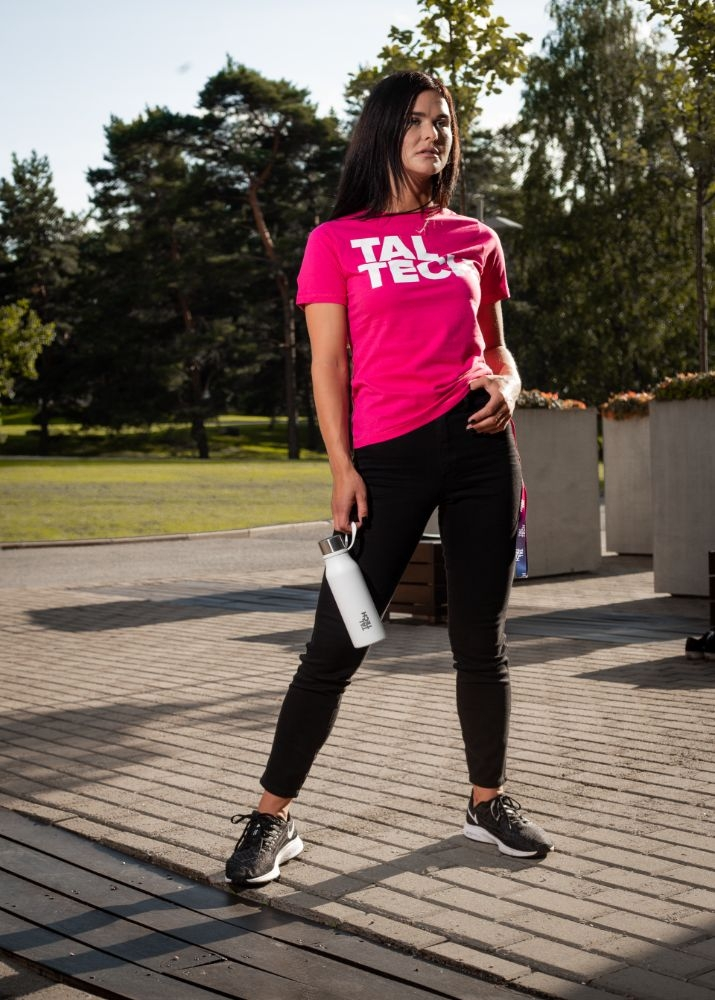 Pink T-shirt with white logo for women