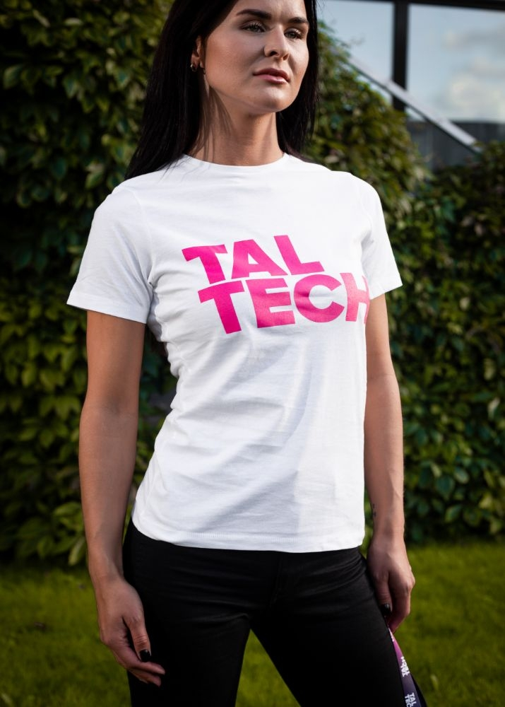 White T-shirt with pink logo for women