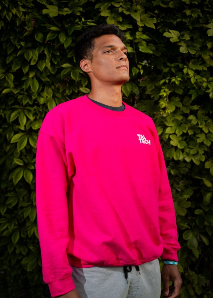 Pink sweater without the hood