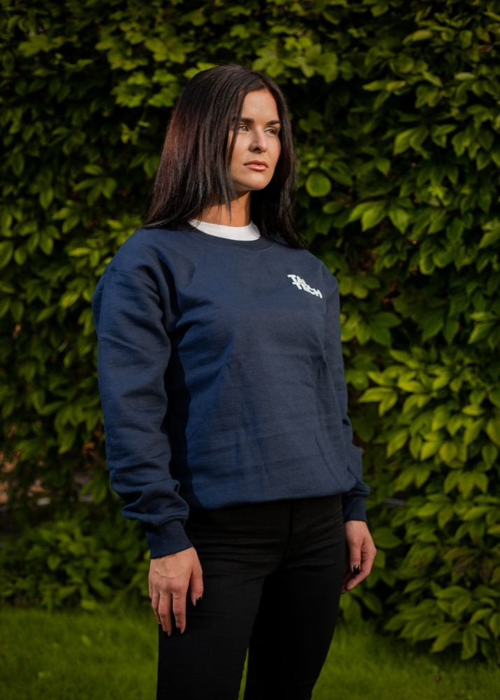 Navy sweater without the hood