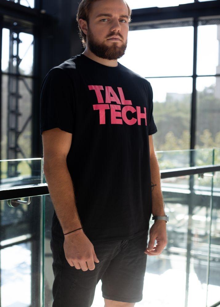 Black T-shirt with pink logo for men