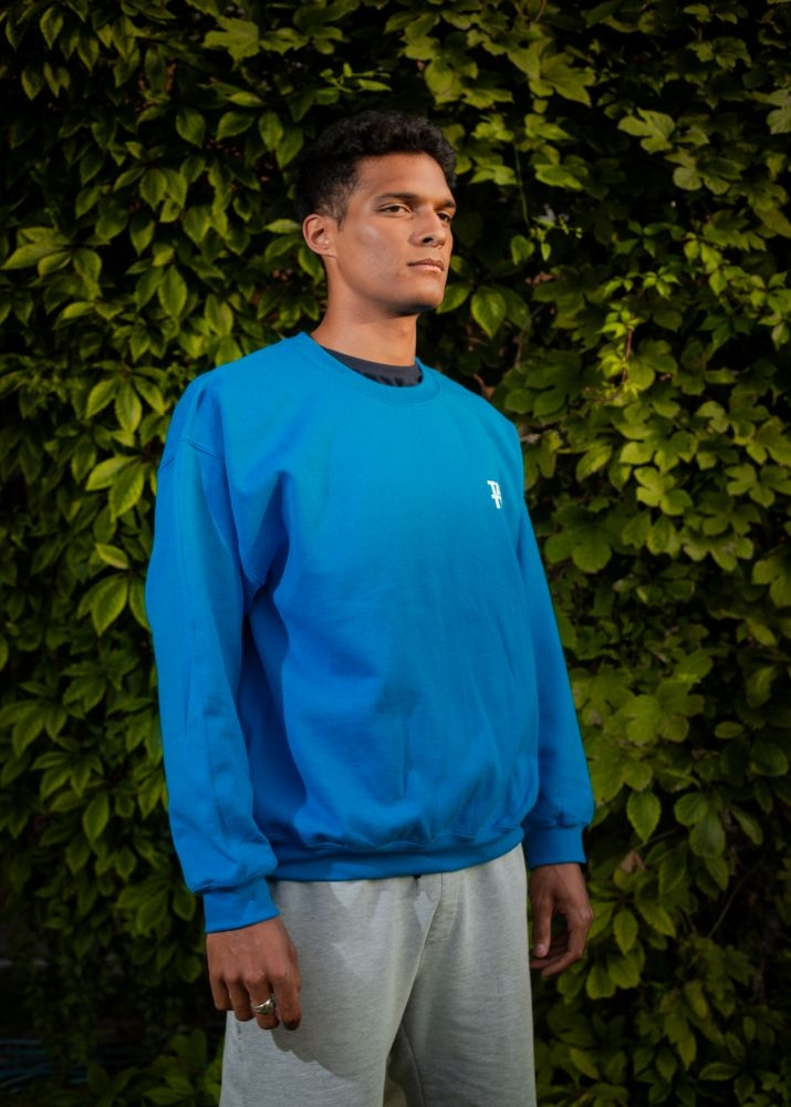 Light blue sweater without the hood