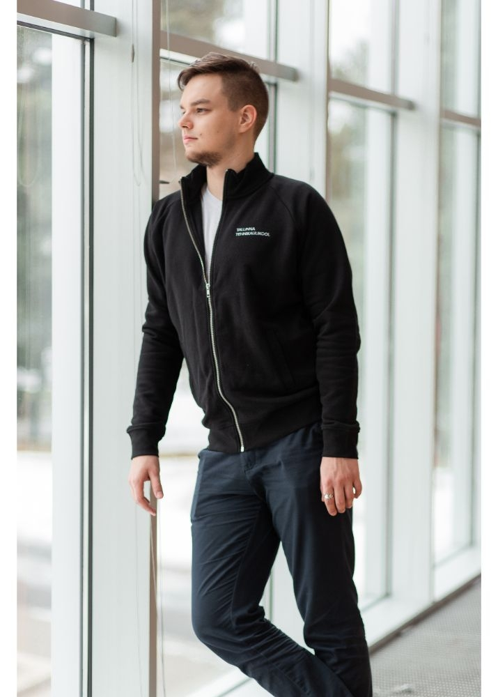 High collar and zippered sweater for men