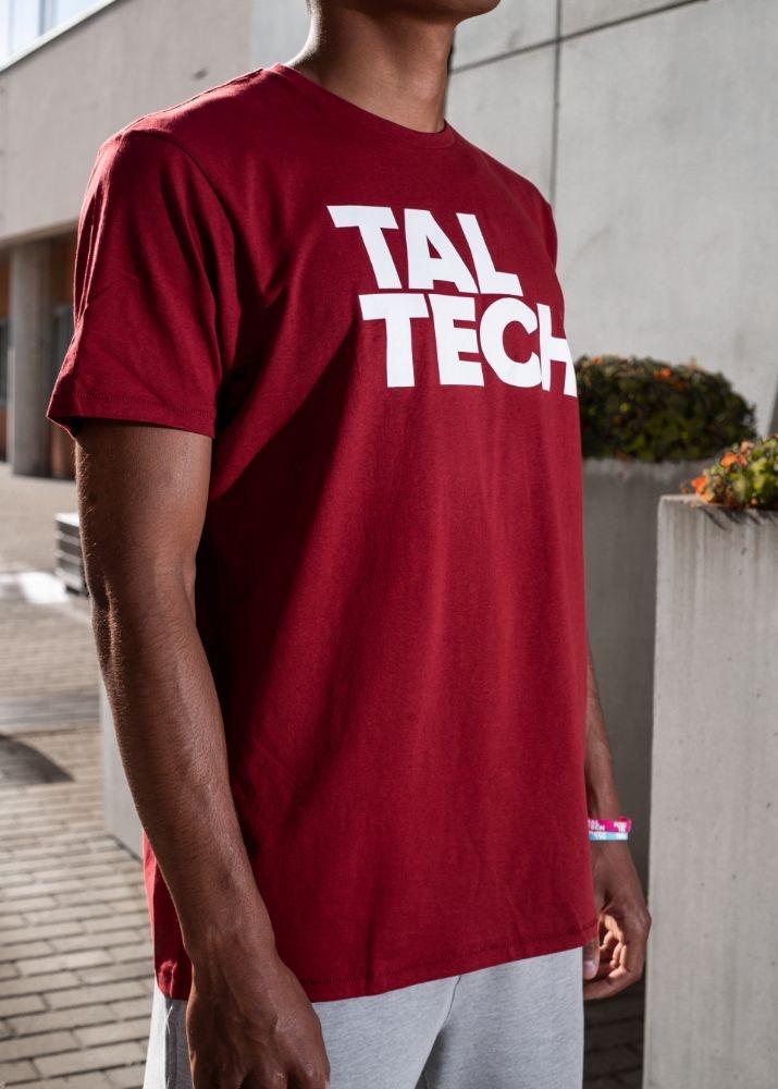 Burgundy T-shirt with white logo for men