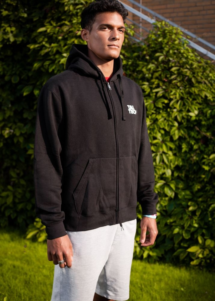 Black sweater with zipper for men