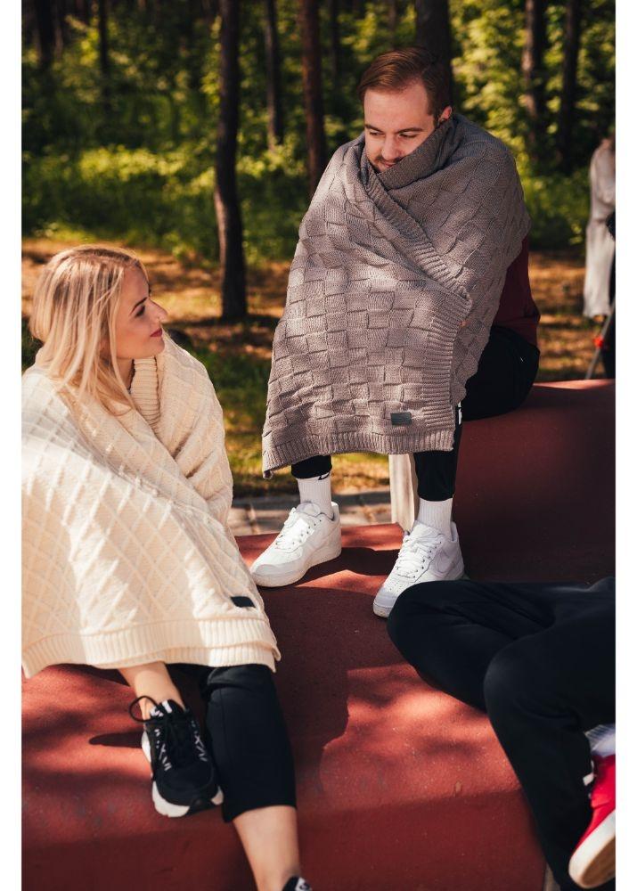 Woolish white blanket (rhombe)