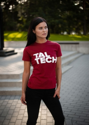 Burgundy T-shirt with white logo for women