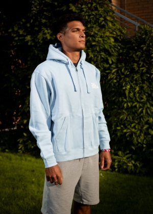 Light blue sweater with zipper for men